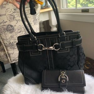 Black coach purse with matching black wallet